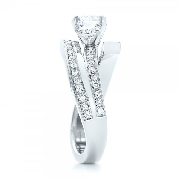 Custom Three Stone Diamond Engagement Ring - Side View