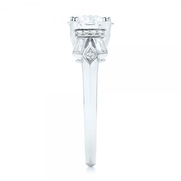 Custom Three Stone Diamond Engagement Ring - Side View