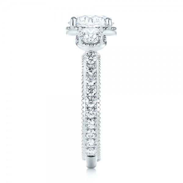 Custom Three-Stone Diamond Engagement Ring - Side View