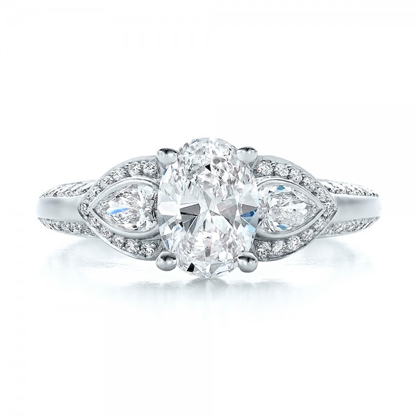 Custom Three Stone Diamond Engagement Ring - Top View