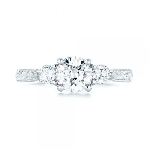 Custom Three Stone Diamond Engagement Ring - Top View