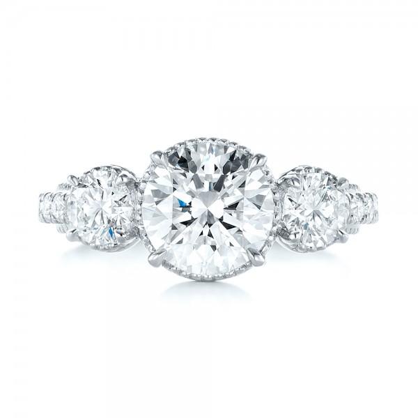 Custom Three-Stone Diamond Engagement Ring - Top View