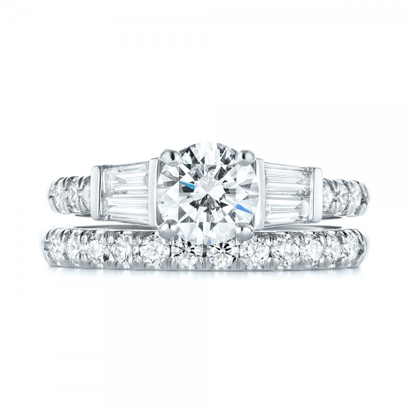 Platinum Custom Diamond Engagement Ring - Top View -  103521