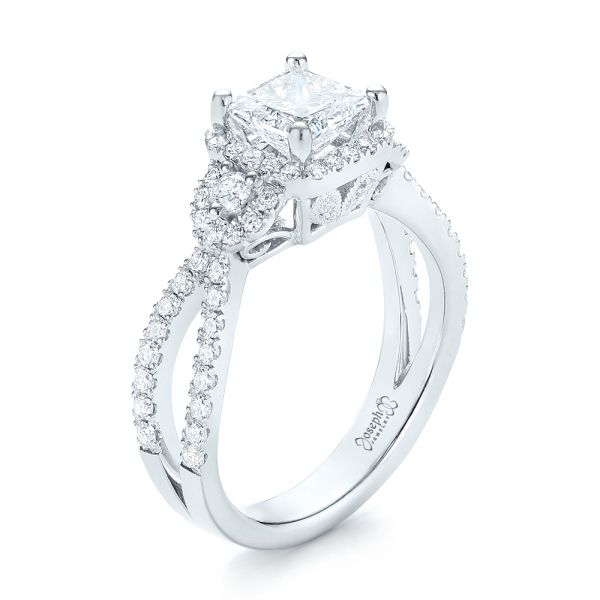Custom Three Stone Diamond Halo Engagement Ring - Image