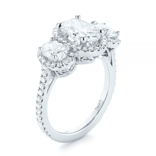Custom Three Stone Diamond Halo Engagement Ring