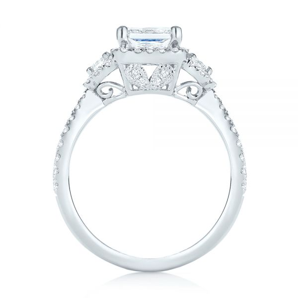 14k White Gold Custom Three Stone Diamond Halo Engagement Ring - Front View -