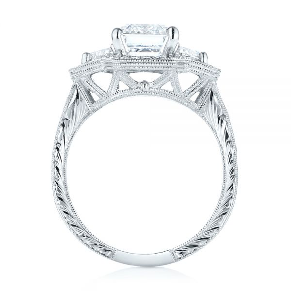 Custom Three Stone Diamond Halo Engagement Ring - Front View -  103401 - Thumbnail