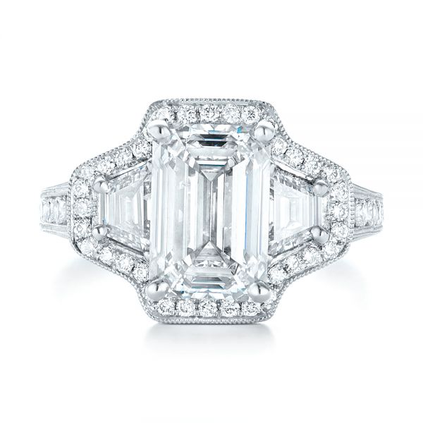 Custom Three Stone Diamond Halo Engagement Ring - Top View -  103401 - Thumbnail