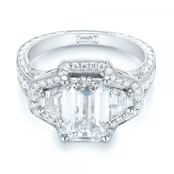 Custom Three Stone Diamond Halo Engagement Ring - Laying View