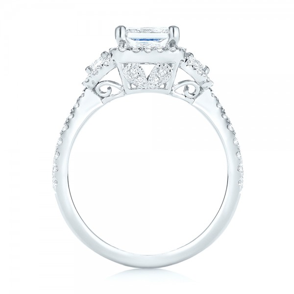Custom Three Stone Diamond Halo Engagement Ring - Finger Through View