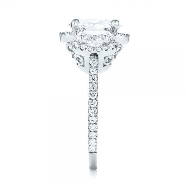 Custom Three Stone Diamond Halo Engagement Ring - Side View