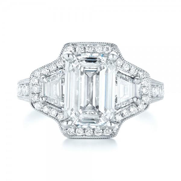 Custom Three Stone Diamond Halo Engagement Ring - Top View