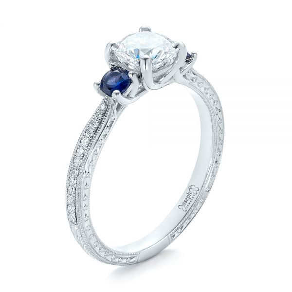Custom Three-Stone Diamond and Blue Sapphire Engagement Ring