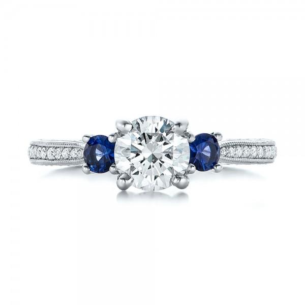 Custom Three-Stone Diamond and Blue Sapphire Engagement Ring - Top View