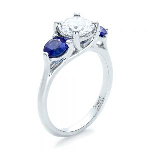 Custom Three Stone Diamond and Sapphire Engagement Ring - Image