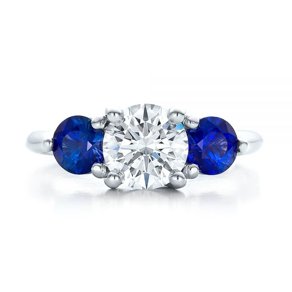 Custom Three Stone Diamond and Sapphire Engagement Ring - Top View -  100483 - Thumbnail