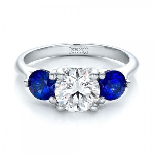Custom Three Stone Diamond and Sapphire Engagement Ring