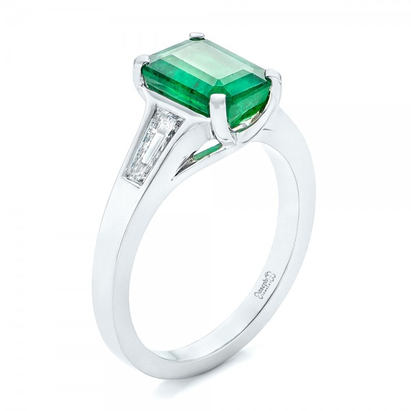 Custom Three Stone Emerald and Diamond Engagement Ring