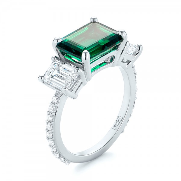 Custom Three Stone Emerald and Diamond Engagement Ring - Image