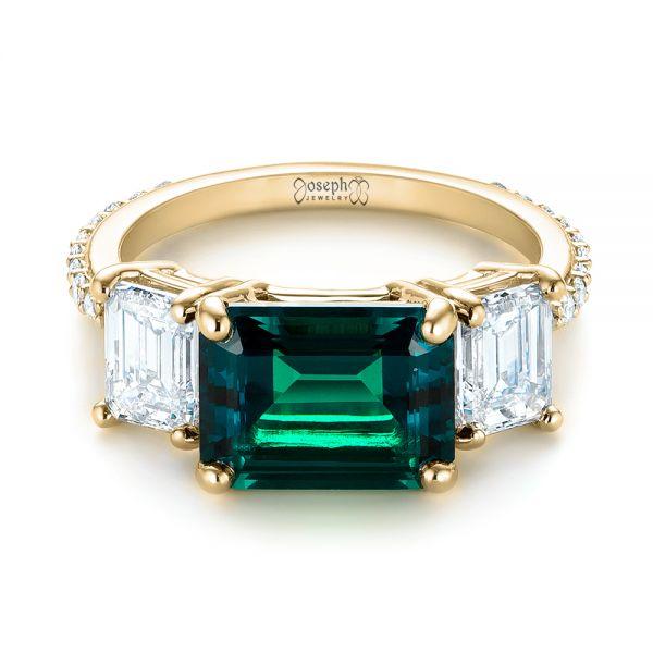 Custom Three Stone Emerald And Diamond Engagement Ring 103528