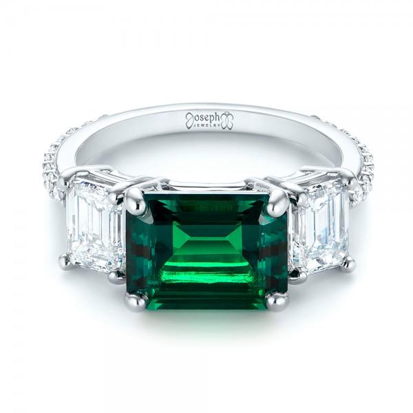 custom three emerald and engagement ring 103528