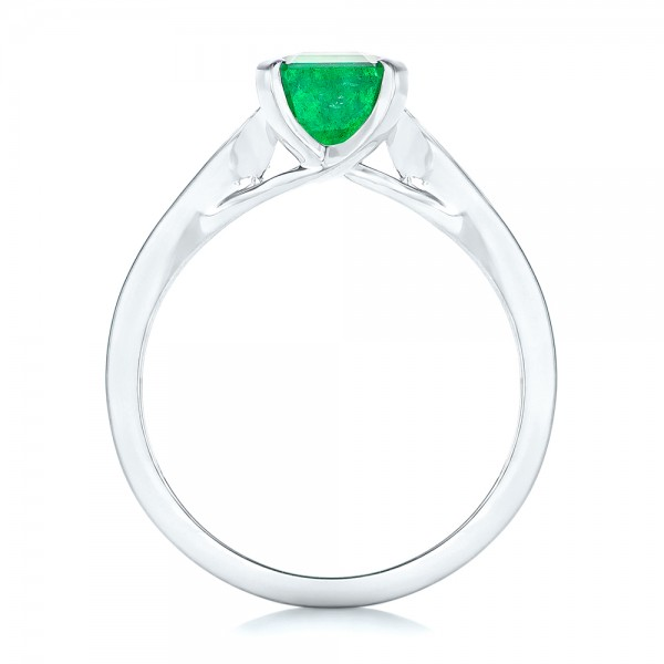 Custom Three Stone Emerald and Diamond Engagement Ring - Finger Through View
