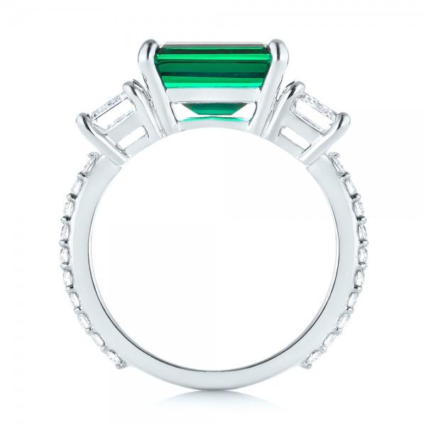 Custom Three Stone Emerald and Diamond Engagement Ring - Finger Through View