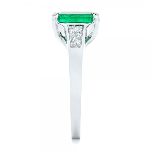 Custom Three Stone Emerald and Diamond Engagement Ring - Side View