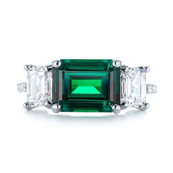 Custom Three Stone Emerald and Diamond Engagement Ring - Top View