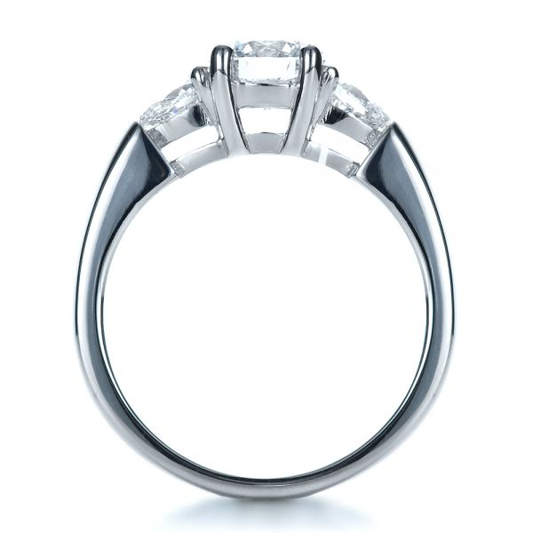 Custom Three Stone Engagement Ring - Front View -  1422 - Thumbnail