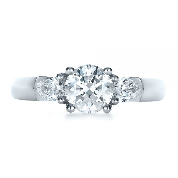 Custom Three Stone Engagement Ring - Top View -  1422 - Thumbnail