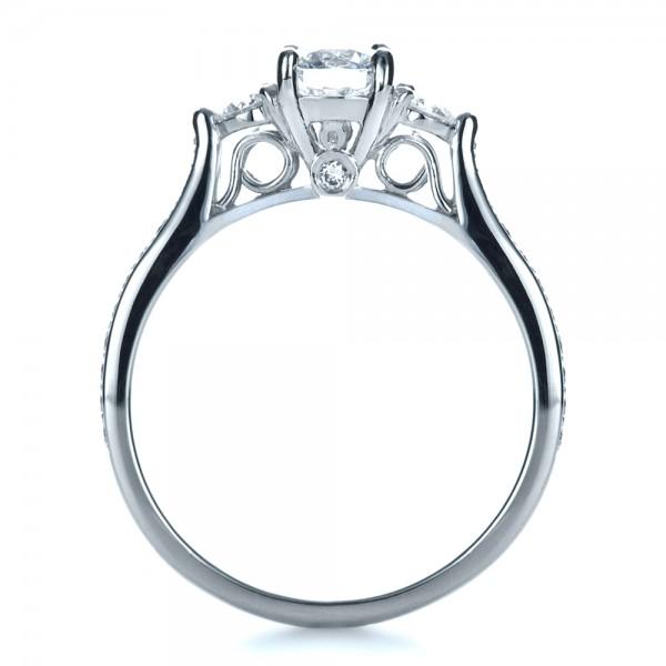 Custom Three Stone Engagement Ring - Finger Through View