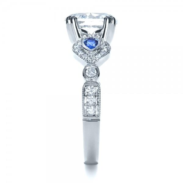 Custom Three Stone Engagement Ring - Side View