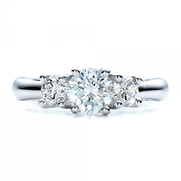 Custom Three Stone Engagement Ring - Top View