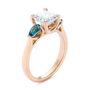 Custom Three Stone London Blue Topaz and Diamond Engagement Ring - Image