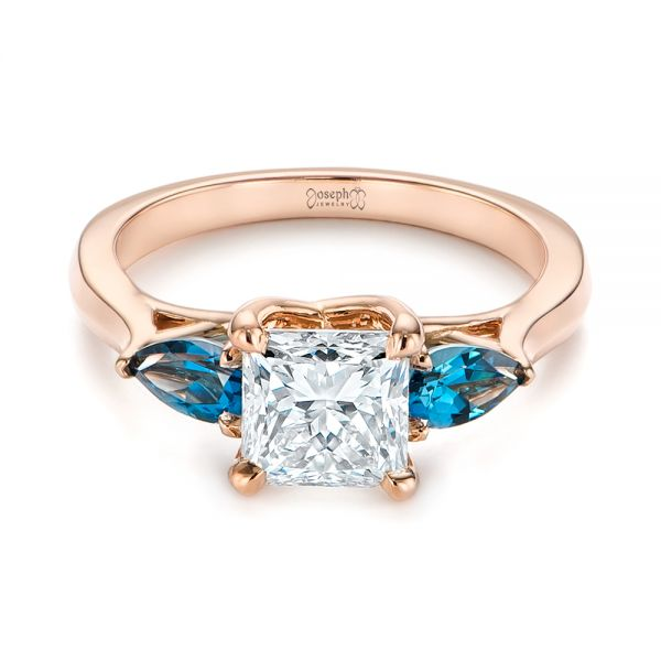 14k Rose Gold Custom Three Stone London Blue Topaz And Diamond Engagement Ring - Flat View -  104059