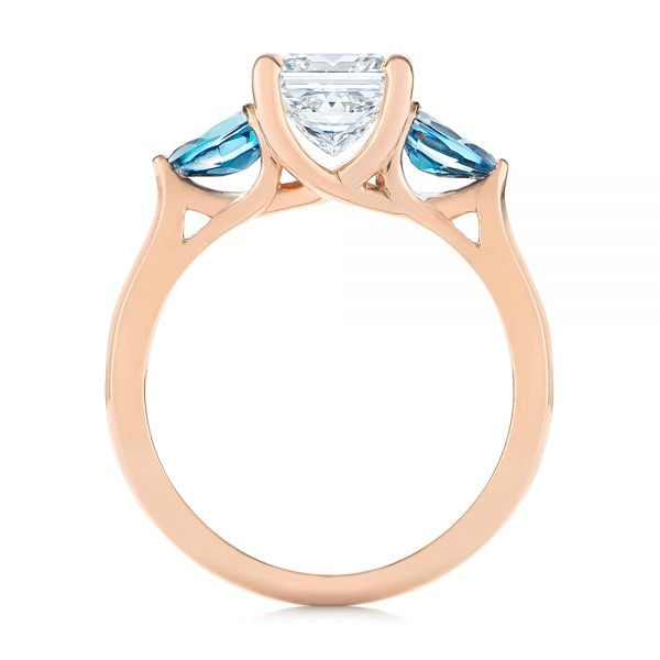 14k Rose Gold Custom Three Stone London Blue Topaz And Diamond Engagement Ring - Front View -  104059