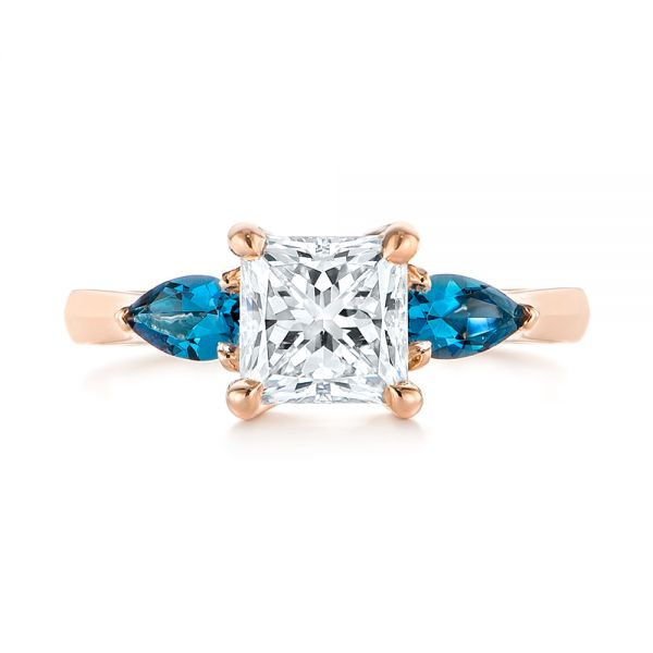 14k Rose Gold Custom Three Stone London Blue Topaz And Diamond Engagement Ring - Top View -  104059