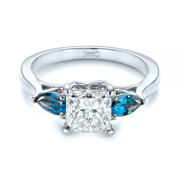 14k White Gold 14k White Gold Custom Three Stone London Blue Topaz And Diamond Engagement Ring - Flat View -  104059