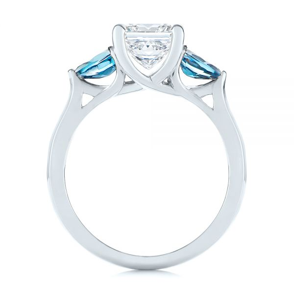 14k White Gold 14k White Gold Custom Three Stone London Blue Topaz And Diamond Engagement Ring - Front View -  104059