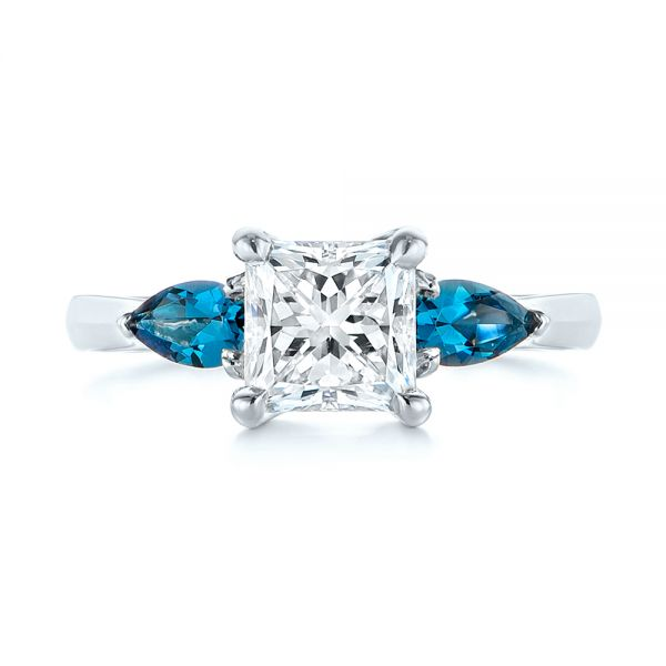 14k White Gold 14k White Gold Custom Three Stone London Blue Topaz And Diamond Engagement Ring - Top View -  104059