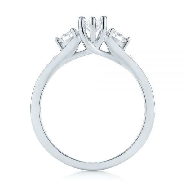 Custom Three Stone Marquise Diamond Engagement Ring - Front View -  104581 - Thumbnail