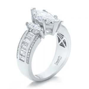 Custom Three Stone Marquise and Baguette Diamond Engagement Ring - Image