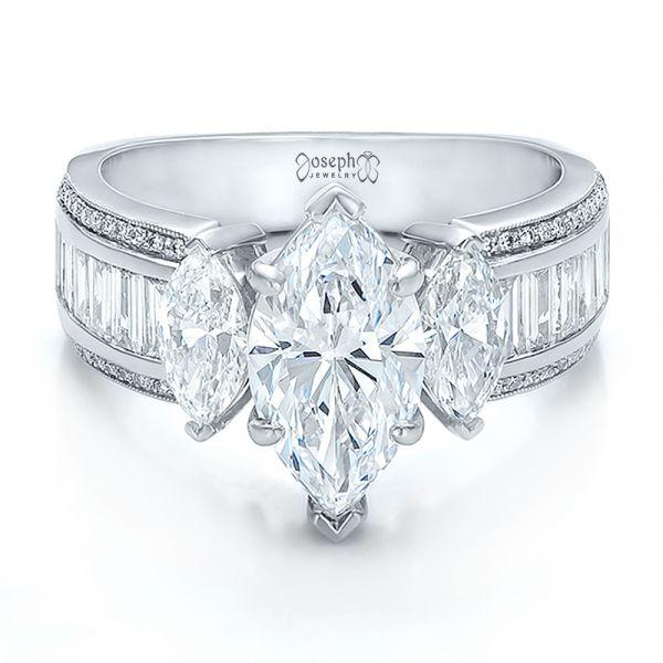 Custom Three Stone Marquise And Baguette Diamond