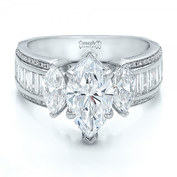Custom Three Stone Marquise and Baguette Diamond Engagement Ring - Laying View
