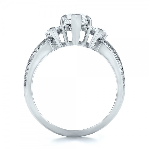 Custom Three Stone Marquise and Baguette Diamond Engagement Ring - Finger Through View