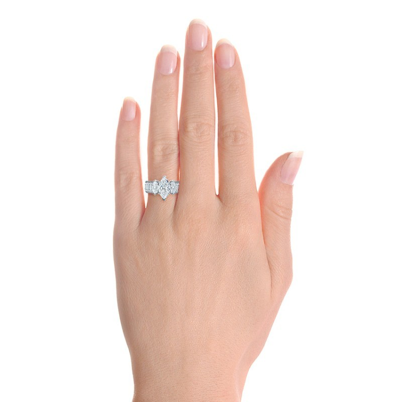 Custom Three Stone Marquise and Baguette Diamond Engagement Ring - Model View