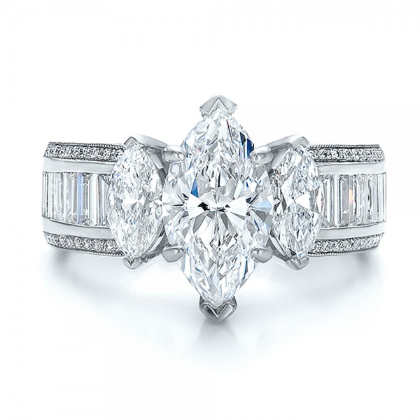 Custom Three Stone Marquise and Baguette Diamond Engagement Ring - Top View