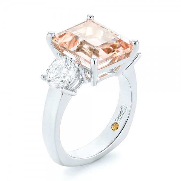 Custom Three Stone Morganite and Diamond Engagement Ring - Image