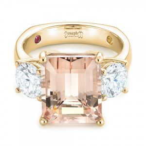 Custom Three Stone Morganite and Diamond Engagement Ring